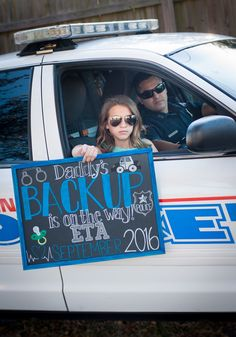 """Officer """"Daddy to Be"""" Cute baby announcement. Older sibling. Cop"""