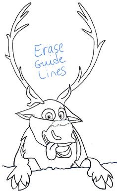 How to Draw Sven the Reindeer from Frozen Step by Step