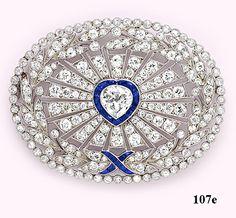 Edwardian heart-shaped diamond, diamond, calibré sapphire and platinum brooch