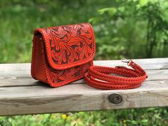 "Hand-Tooled Leather Mini Crossbody ""Esmeralda"" by ALLE Deep Orange Color Tooled Leather, Leather Tooling, Mini Crossbody Bag, Leather Crossbody, Structured Bag, Orange Leather, Leaf Design, Orange Color, 3 D"