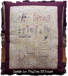 Spring SamplerPrimitive Stitchery Pattern by PrimitiveStitches