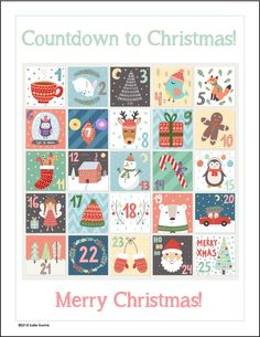 Free Printable Christmas Advent Calendar - A Quiet Simple Life with Sallie Borrink Candy Advent Calendar, Advent Calendars For Kids, Advent Calenders, Kids Calendar, Printable Calendar Template, Free Printables, Christmas Countdown, Christmas Ideas, Christmas Crafts
