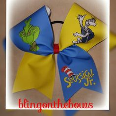 Seussical Jr.  Cheer bow #blingonthebows #cheerleader #bows #cheerleading #fiercecheerbows #cheergear #allglitterbows #teambows #blingonthebows #drseuss #seussicaljr  Www.blingonthebows.com