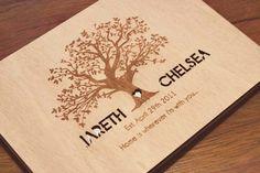 "Custom Wedding guest book wood rustic wedding guest book album bridal shower engagement anniversary - Family Tree"""