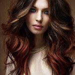 Brown Hair Highlights - love the blonde tones at top, copper below