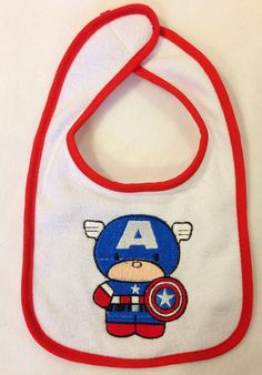 Captain America Chibi - Baby Bib by YouHungTheMoon on Etsy, $8.00