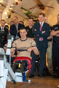 Prince Harry watching a Para Rowing demonstration