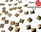 DIY Studs - 150 Bronze 10 mm Pyramid Square Studs - Iron On, Hot Fix, or Glue On -No' 001