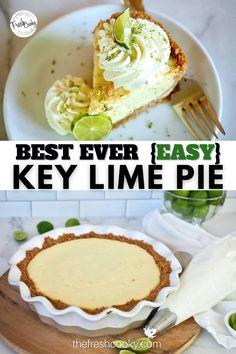 You CAN make this amazing, creamy key lime pie, with the perfect sweet:pucker ratio, this pie is perfect for holiday celebrations, birthdays, whenever you need a slam dunk recipe. #thefreshcooky #awardwinningpie #easykeylimepie Key Lime Desserts, Lemon Desserts, Fun Desserts, Delicious Desserts, Dessert Recipes, Lime Recipes, Tart Recipes, Summer Recipes, Best Key Lime Pie