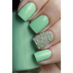 Mint Green Nails ❤ liked on Polyvore