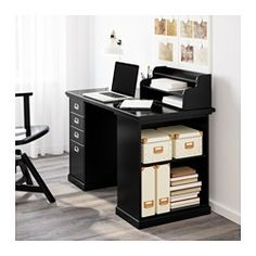 IKEA - KLIMPEN, Desk with storage, black, , The add-on unit can be placed on the table top or hung on a wall.Slot for a label on each drawer so you can easily keep things organized and find what you are looking for.Drawer stops prevent the drawers from being pulled out too far.You can customize your storage with the adjustable shelf.