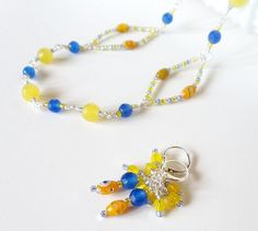 Wire Wrapped Necklace Set  Blue and Yellow by simplysuzie2 on Etsy, $30.00