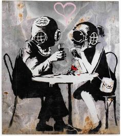 Banksy pareja Photo-reproduccion Ed.20 COA 42x29cmts 11x16,5inches(appx.size)paper photo Sin marca alguna no mark -- Awesome products selected by Anna Churchill
