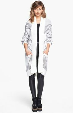 This would be so cute with some skinnys and riding boots!!  Gotta layer it up- it gets cold in MI in the winter!!  Leith Patterned Chenille Cardigan available at #Nordstrom