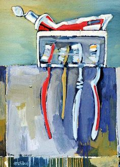 Tooth brushes - Still Life Oil Painting - Dion Archibald