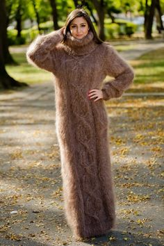 Tiffy Mohair Hand Knitted T- neck Sweater Dress Fuzzy Fluffy Thick S M L Long Sweater Dress, Wool Dress, Knit Dress, Turtleneck Dress, Mohair Sweater, Brown Sweater, Oversized Dress, Maxi Robes, Long Sweaters