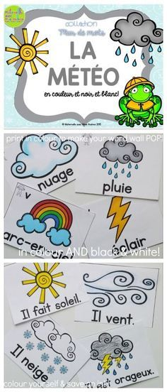 Collection Mur de mots - La météo. 12 French Weather Word Wall vocabulary cards and 8 cards to practice sentence structure - in colour AND black & white. Perfect for adding to your word wall! Print in colour to make your word wall POP, or print in black & white and colour yourself (or have your students colour!) to save on ink. You can also use the black & white to create student booklets or posters. The possibilities are endless!