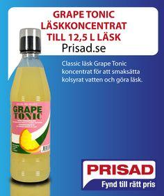 Grape Tonic Läskkoncentrat till L läsk Tonic, Water Bottle, Lime, Dishes, Drinks, Sodas, Drinking, Lima, Beverages