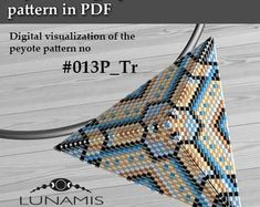 Peyote triangle patterns, pattern for triangle pendant, peyote patterns, beading, peyote stitch, digital file, pdf pattern #013P_Tr