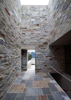 Stone House KÜ in Brione sopra Minusio, Ticino, Switzerland. Stone Masonry, Unique Flooring, Brickwork, Stone Houses, Inspiration Wall, Beautiful Space, Art And Architecture, Beach House, House Design