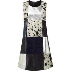 Florence Bridge Patchwork Leather Sleeveless Mini Dress ($565) ❤ liked on Polyvore featuring dresses, multi, leather zipper dress, short dresses, zip dress, metallic mini dress en round neck sleeveless dress