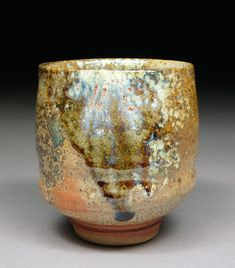 Handmade Yunomi Tea Cup Glazed with Shino, Wood Ash, Copper and Rutile with interesting Carbon Trapping Patterns made by Shyrabbit / D Michael Coffee.