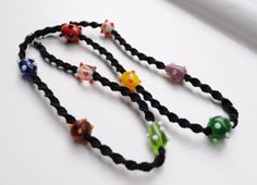 Glass beads and macrame necklace
