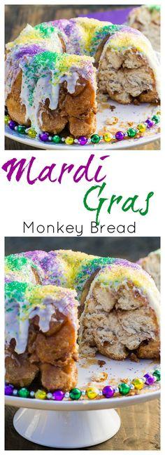 Mardi Gras Monkey Bread Mardi Gras Food, Mardi Gras Party, Mardi Gras Desserts, Köstliche Desserts, Delicious Desserts, Yummy Food, Cake Recipes, Dessert Recipes, Sweet Recipes