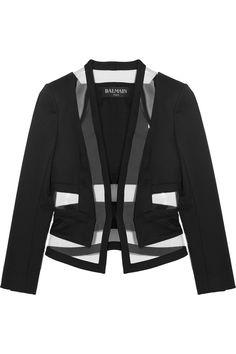 BalmainPVC-paneled wool-twill blazer