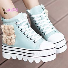 #kawaii sneakers Japan and South Korea edition autumn women shoes student shoes heavy-bottomed platform shoes Winnie the low-heeled women's boots with boots Martin boots - Taobao