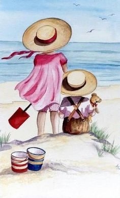 LÁMINAS ANTIGUAS 3-Ideas y Trabajos terminados | Aprender manualidades es facilisimo.com.pin Vintage Pictures, Art Drawings, Niedliche Illustration, Vintage Children, Beach Art, Watercolor Paintings, Watercolour, Vintage Art, Art Projects