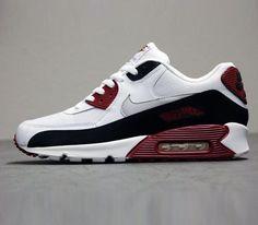 Nike Air Max 90 Essential -White-Neutral Grey-Black-Team Red #sneakers #kicks