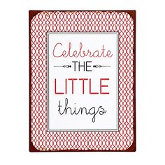 Piatto Plaque vintage celebrate rouge en métal 35x26.5cm