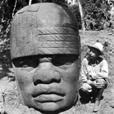 The Olmec City of San Lorenzo: Archaeologist Matthew Stirling with one of the San Lorenzo Colossal Heads