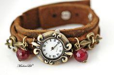 Fleur de Lys © Unieke armband Horloge van het Leer