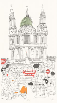 London Waiting (SB28) Town & City Art Print by Susie Brooks http://www.thewhistlefish.com/product/london-waiting-framed-by-susie-brooks
