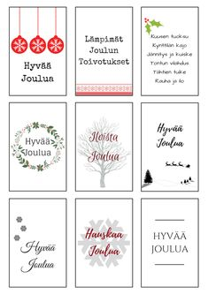 Tulostettavat pakettikortit  Printtaa itse jouluiset pakettikortit Christmas Artwork, Noel Christmas, Very Merry Christmas, Christmas Wrapping, Christmas Wishes, White Christmas, Christmas Crafts, Christmas Decorations, Xmas Cards