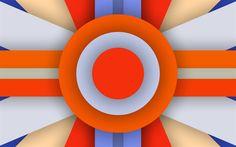 Télécharger fonds d'écran coloré abstraction, les cercles orange, la géométrie, les lignes, les créatifs