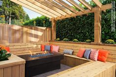 This combination cedar seating area and pergola create the perfect gathering spot for friends day or night. Backyard Projects, Outdoor Projects, Backyard Patio, Backyard Landscaping, Patio Wall, Wood Projects, Outdoor Rooms, Outdoor Living, Outdoor Decor