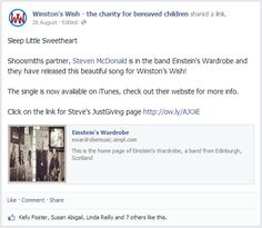 Sleep Little Sweetheart  Shoosmiths partner, Steven McDonald is in the band Einstein's Wardrobe and they have released this beautiful song for Winston's Wish!   The single is now available on iTunes, check out their website for more info.