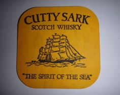 """Vintage Cutty Sark Scotch Whisky drink coaster. """"The spirit of the sea'. Used"""
