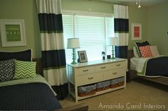 Amanda Carol at Home: E-Design Shared Kids Room- love the navy, white and green curtains!