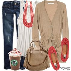 Only in America Starbucks is a part of an outfit.
