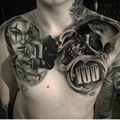 Discover recipes, home ideas, style inspiration and other ideas to try. Cool Chest Tattoos, Chest Piece Tattoos, Badass Tattoos, Skull Tattoos, Rose Tattoos, Hand Tattoos, Tattoo Sleeve Designs, Sleeve Tattoos, Photoshop Tattoo