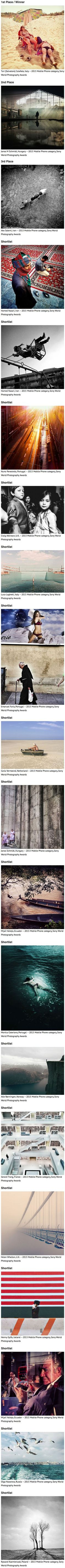 Sony on Tuesday announced the winners of the Sony World Photography Awards' Mobile Phone category, and we're impressed. Mobile alone saw 10,200 photo submissions, and winners in the category were chosen by an online vote from a shortlist of 20 photos.