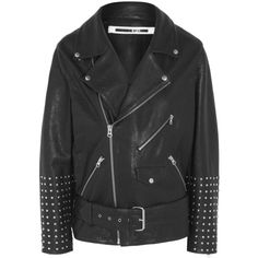 McQ Alexander McQueen Oversized studded textured-leather biker jacket ($2,250) ❤ liked on Polyvore featuring outerwear, jackets, coats & jackets, black, black studded jacket, black motorcycle jacket, studded moto jacket, asymmetrical zip jacket and oversized jacket