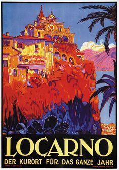 Gorgeous! Vintage Locarno Travel Poster by Daniele Buzzy: Locarno, Switzerland 1925