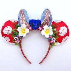 Lilo and Stitch Mickey Ears Disney Minnie Mouse Ears, Diy Disney Ears, Disney Hair, Mickey Ears Diy, Disney Pins, Disney Stuff, Disney Ears Headband, Disney Headbands, Ear Headbands