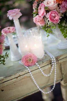 Heavenly Blooms: Pearls, Lace and Pink Garden Wedding Inspiration for Utterly Engaged Magazine