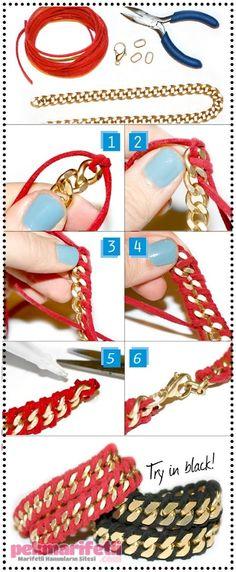 DIY bracelet, golden chain, red leather strap.